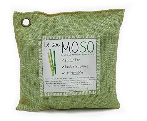 Le Sac MOSO (Die Moso Tasche) Version 200GR - Natürliche Luftreiniger , Deodorant, Feuchtigkeitsabsorber , geruchlos - gefertigt aus 100% Bambuskohle - 200 Gr Grün