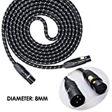 SRADIO 10FT Mic Cable Balanced Patch Cords, XLR Male to XLR Female Pro Microphone Black Tweed Cloth Jacket Braided Cables – 10 Foot Balanced 8mm Mic Cord 3-Pin, Gold Connector – Single