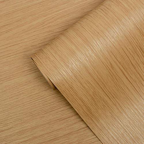 LPWUK Papel de grano de madera Autoadhesivo 60cm X Parte posterior adhesiva Rollo de plástico Peel Stick Papel tapiz Película extraíble Vinilo decorativo para muebles Estantería Cocina DIY-A1