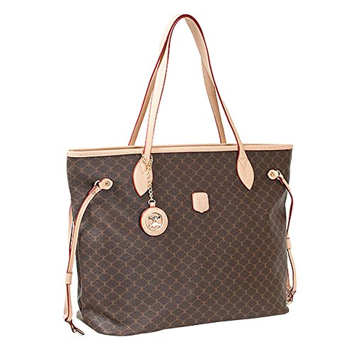 Leather Accents Shopper Shoulder Bag (beige)
