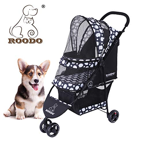 ROODO Escort 3 Wheel Pet Strollers Small Medium Dogs Cat Kitty Cup Holder Lightweight Travel System Foldable Jogger Buggy(Black)