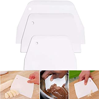 Dough Scraper with Hole, Reayouth 3PCS Flexible Bench Scraper, Multipurpose Bench Food Scrapers with Edge Flat for Baking ...