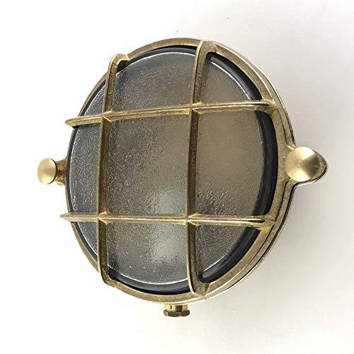 KsH y Co IP64 Lámpara de mamparo náutico de latón redondo con enchufe de porcelana E14