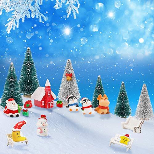 21 Pezzi Mini Albero di Natale,Albero di Natale in Miniatura Artificiale Decorazione da Tavola di Renna Pupazzo Ornamenti per Giardino Festa in Casa Arredamento Villaggio per Regali Natale Bambini