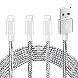 Mitesbony Cable Chargeur iPhone Pack de 3 2m en Nylon Tressé Cordon Certifié CE Compatible avec iPhone X/8/8 Plus/7/7 Plus/6 Plus/6s/6/5S/5c/5,iPad Air,iPad 2/3(Gris argenté)