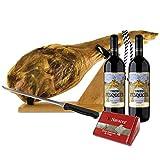Lote Jamón Serrano Curado Reserva Duroc (Paleta 4,5 Kg) + 2 Botellas Vino Tinto Pesquera Original Ribera de Duero + Queso V de Navarra 250 g + Kit Jamonero con cuchillo