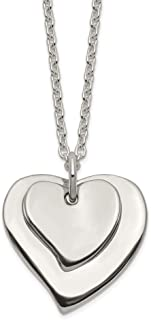 925 Sterling Silver Double Heart Chain Necklace Pendant Charm S/love Fine Jewelry Gifts For Women For Her