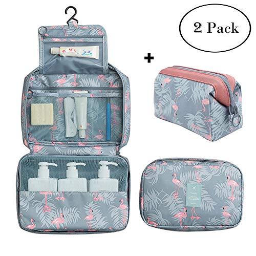 Makeup Bag Flamingo for Women Girls with Hanging Hook Waterproof Medium Toiletry Bag Multifunction Travel Cosmetic Bags Organizer 2 Pieces