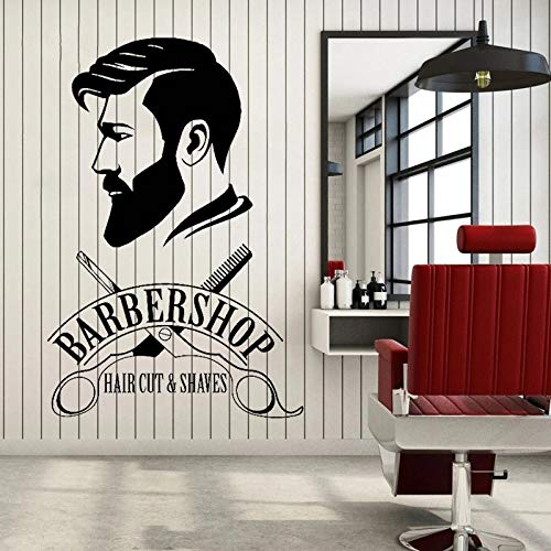 WERWN Calcomanas para Ventanas de librera Hipster Hombre Pegatinas de Pared peluquera Tijeras Afeitado Pintura y Logotipo de Corte de Pelo Afeitado Ventanas de Pared