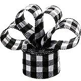 6,3 cm Breit Plaid Sackleinen Band Gingan Verpackung Band mit Spule für Weihnachten Dekoration Geschenk Verpackung Party Dekoration (Schwarz und Weiß, 10 Meter Lang)