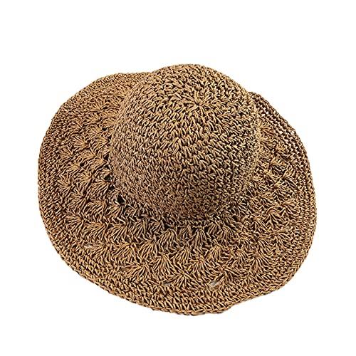 YZHS Mujer Moda Verano Sombrero de Paja Sol Plegable Playa Playa hatsun Sombrero Padre-niño Sombrero mamá niño Sol Sombreros (Color : Beige, Size : 56-58cm)