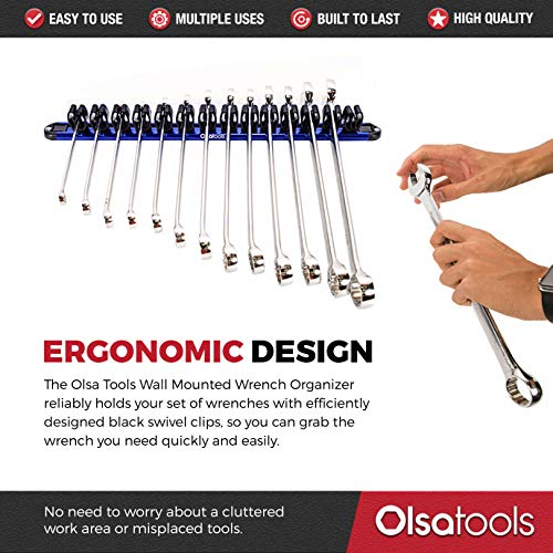 Olsa Tools Wall Mount Wrench Organizer with Rotating Clips | Blue Anodized Aluminum + Black Clips | Premium Quality Wrench Holder | 14 Wrenches Fit Rack