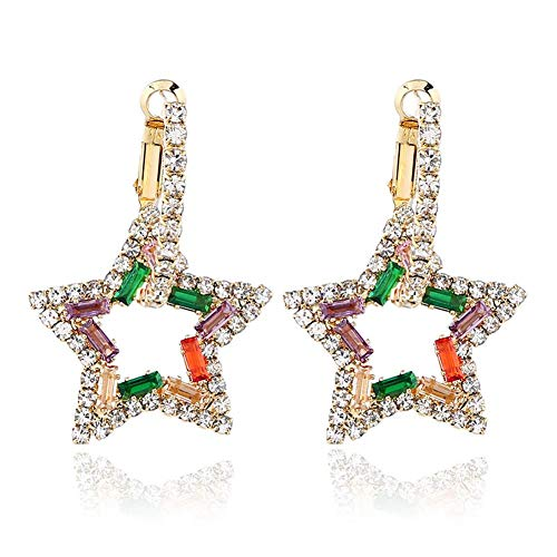 Wicemoon DIY Accessories Alloy Star Set Diamond Earrings for Party Meeting Dating Wedding Daily Wear Colorful