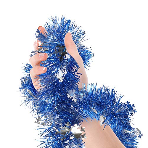 Royal Blue Tinsel Garland Blue Snowflake Metallic Streamers 18 Ft Celebrate a Holiday Hanukkah Party Winter Wonderland Ceiling Hanging Decorations Indoor and Outdoor Disco Party Supplies