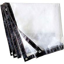 Lona Alquitranada 2mx2m, Lona Impermeable, Lonas con Ojales de Aluminio de Alta Resistencia, Sábanas de Lona de Plástico Ventana de Balcón Transparente Engrosada