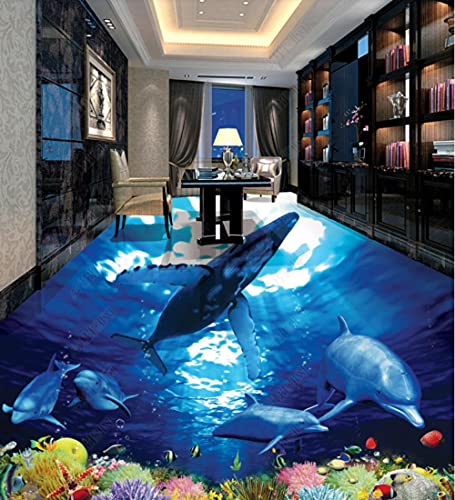 Baldosas de suelo elevadas 3D Vinilo para papel tapiz de suelo Baldosa de suelo estéreo 3D Mundo submarino de delfines de baldosas-400 * 280 Cm Autoadhesivo Baño Cocina Encimera Mejoras para el hogar