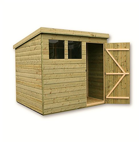 EMS Retail GARDEN SHED 8X5 SHIPLAP PENT SHED PRESSURE TREATED TANALISED TONGUE AND GROOVE