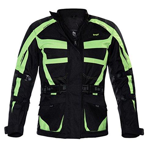 Ledershop-online 2263 Bangla Motorradjacke Damen Tourenjacke Schwarz Neon Gelb L
