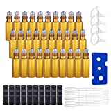 BENECREAT 30 Pack 5ml Botella de Vidrio Botellas de Rodillos de Aceites Esenciales Equipado con Cubierta Negra y 10 Pipetas, 4 Embudos, 1 Abridor
