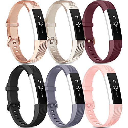 [Pack 6] Bands Compatible with Fitbit Alta HR Bands for Women Men, Soft Silicone Sport Replacement Bands for Fitbit Alta and Fitbit Alta HR (Small, Rose Gold, Gold, Wine red, Black, Gray, Pink)
