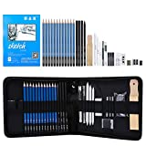 H & B Sketching Pencils Set, 33-Piece Drawing Pencils and Sketch Kit, Complete Artist Kit Includes Sketch Pad, Graphite Pencils, Charcoal Sticks and Eraser, Professional Sketch Pencils Set for Drawing