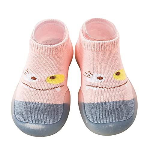 Calcetines de bebé con dibujos animados, para niños, niñas, zapatos para aprender a andar, zapatos de gateo, suelo suave, zapatos antideslizantes, zapatos de bebé, transpirables, azul claro, 26