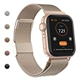 WASPO Compatible for Apple Watch Band 38mm 40mm 42mm 44mm, Stainless Steel Mesh Loop Replacement for iWatch Series 1/2/3/4/5 Champagne Small
