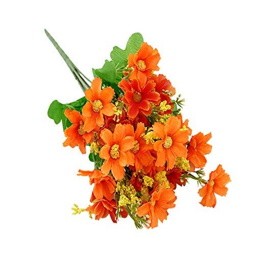 HotYou 3 Bouquet 28 Cabezas Artificiales Falsas Flor de Margarita Linda Decoración de Jardín de Bodas en el Hogar,Naranja,3 Ramos