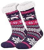 Compagno Morbidi calzettoni con suola in ABS antiscivolo Calzettoni invernali Calze a pantofola per donna uomo 1 paio misura unica, Colore:Blu marino
