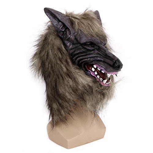 GET Freshs Kostüm Kostüm Maske, Latex Tier Wolf Kopf mit Haarmaske für Halloween-Party