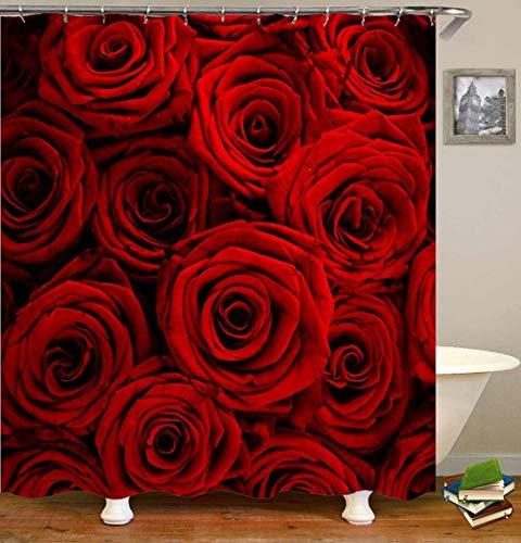 zhanghui2018 3D-Rot-Rose-Duschvorhänge-Badezimmer-Vorhang-Wasserdicht-Polyester-Stoff-Bad-Dekor-Duschvorhang-Mit-12 (2)