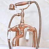 Montaje en cubierta Grifo de bañera con patas de garra Relleno de bañera Ducha de mano Latón de cobre rojo antiguo Manijas de cerámica dobles
