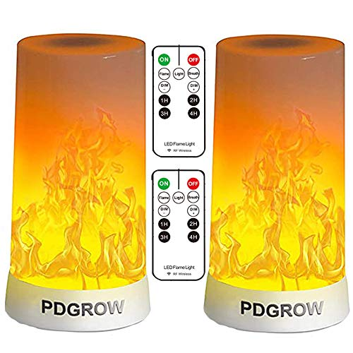 LED Flameless Candles with Remote Timer, Fireplace Light 4 Modes USB Rechargeable Fake Flame Lamp Indoor Electric Fire Illusion Battery Powered Lantern Fia Wave Lighting for Home Christmas Decorative
