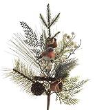 KAE Künstlicher Weihnachtsrokehlchen Rotkehlchen Evergreen Mistelzweig/Kiefernzweig Dekoration Spray/Strauß – Grün/Weiß – 60 cm