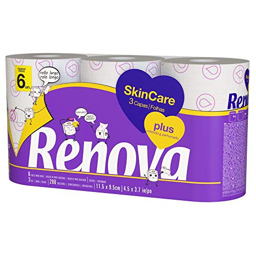 Renova Skin Care Plus Papel Higiénico Decorado Perfumado - 6 Rollos