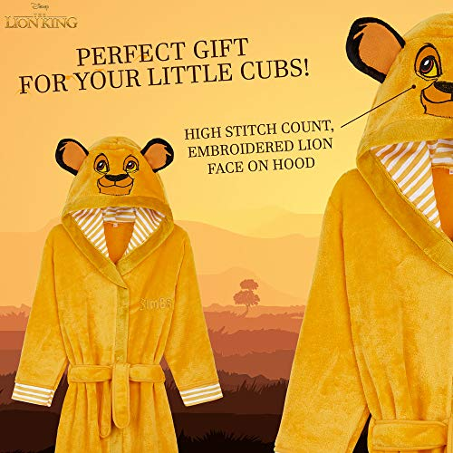 Disney Kids Dressing Gown, Lion King Hooded Robe for Girls Boys, Disney Gifts (Yellow, 2-3 Years)