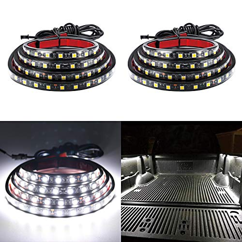 """LivTee 2Pcs 60"""" White LED Cargo Truck Bed Light Strip Lamp Waterproof Lighting Kit with On-Off Switch Fuse 2-Way Splitter Cable for Jeep Pickup RV SUV and More"""