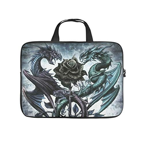 Dragons and a Rose Tattoo Abrasion Resistant Waterproof Super Lightweight Laptop Bag with Strap Laptop case Sleeve Computer Carry Bag for Office School Business Trip for Men Women White 12 Zoll
