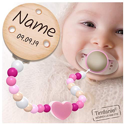 Handmade Schnullerkette mit Namen | für Mädchen | Timfanie® rosa-Herz