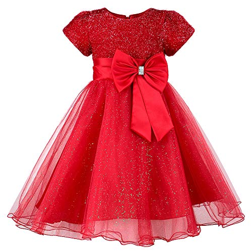 HUAANIUE Girls Flower Girl Red Dress Christmas Party Holiday Dresses Red 4-5T