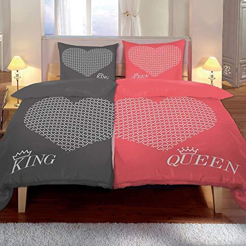 Kuscheli® 4-teilig Partner Bettwäsche 135x200 mit 80x80 Kissenbezug |ÖkoTex Zertifiziert | seidig weich, Mikrofaser Bettwäsche für Paare, Farbe:King-Queen rosa-grau, Größe:135x200 + 80x80