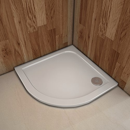 Plato de ducha Resina Blanco, Extraplano, Semicircular 90x90cm