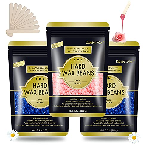 Hard Wax Beans 0.75lb, Wax Beads for Hair Removal, Coarse Hair Waxing Beads-Body Wax for Face, Eyebrow, Bikini Brazilian, Legs, Armpit, Back and Chest, At Home Waxing Beans for Women Men