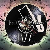 YDDLIE Banda de Jazz saxofón Disco de Vinilo Reloj de Pared Retro decoración del hogar Instrumento de música Reloj de Pared música saxofón Regalo