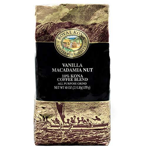Royal Kona 10% Kona Coffee Blend, Vanilla Macadamia Flavor - Ground, 40 Ounce Bag