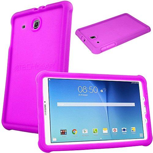 TECHGEAR Schutzhülle für Samsung Galaxy Tab E 9,6 (T560 T565), [Kinderfreundlich] Leichtes Koffer Silikon Soft Shell Anti-Rutsch-Shockproof verstärkte Ecken + Displayschutzfolie. - Lila