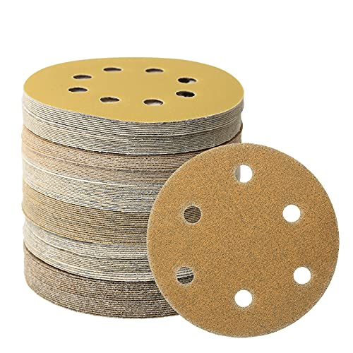 126 Pcs 5 Inch 6 Hole Sanding Discs Hook and Loop Gold Orbital Sander Sandpaper 60 80 120 180 240 400 600 Grit 6 Hole Sanding Discs (5 inch 6 hole, 126 pcs)
