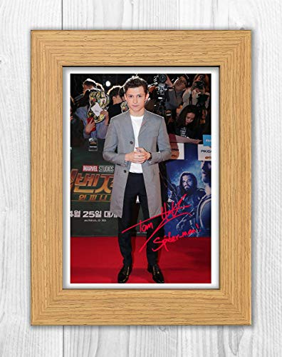 Engravia Digital Tom Holland (1) Spiderman Reproduction Autographed Poster Photo A4 Print(Oak Frame)