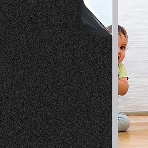Pellicola per Vetri Finestre Adesiva per Vetro Oscuranti Vetri finestre per Vetri Anti-UV Privacy per Ufficio Bagno Camera da Letto Sala di Riunione (Nero, 60 * 200)