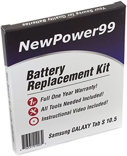 NewPower99 Battery Kit with Battery Video and Tools for Samsung Galaxy Tab S 10 5 SM T800 SM product image